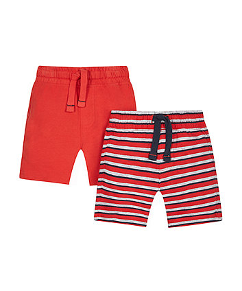 Red And Striped Shorts - 2 Pack
