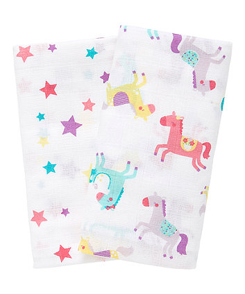 Mothercare My First Fairground Muslins Xl - 2 Pack