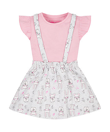 Bunny Skirt With Braces And Top Set