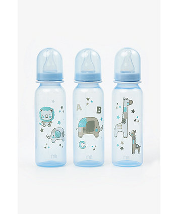 Mothercare Standard Baby Bottles 260ml - Blue (3 Pack)