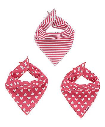Mothercare Pink Heart Dribbler Bibs - 3 Pack