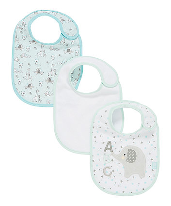Mothercare Newborn Elephant Bibs - 3 Pack
