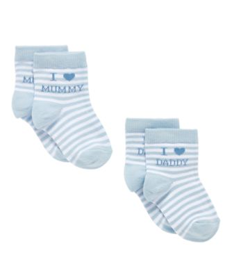 Mothercare I Love Mummy And Daddy Baby Boys Socks - 2 Pack