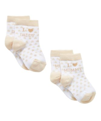Mothercare I Love Mummy And Daddy Baby Unisex Socks - 2 Pack