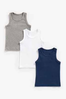 Mothercare Boys Marls Sleeveless Vests - 3 Pack