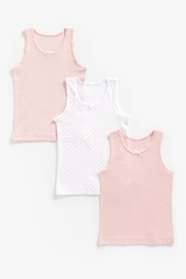 Mothercare Girls Pink And White Vests - 3 Pack