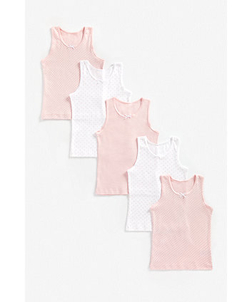 Mothercare Pink And White Vests - 5 Pack