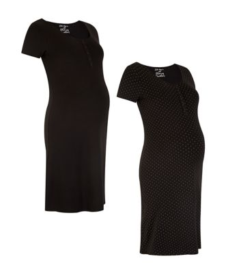 Mothercare Maternity Mono Mini Spot And Black Night Dress - 2 Pack