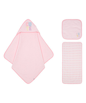Mothercare Cute Hearts Pink Towel Bale - 3 Pack