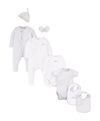 Mothercare Grey And White Eight Piece Starter Set