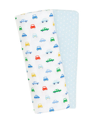 Mothercare On The Road Muslin Blankets - Blue 2 Pack