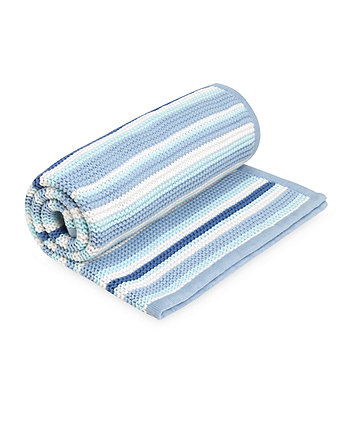 Mothercare Blue Stripe Knitted Blanket