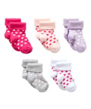 Mothercare Bright Heart Turn-Over-Top Socks - 5 Pack