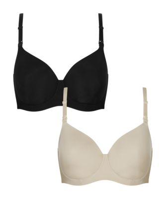 Mothercare Black And Nude Smooth Nursing Bra - 2 Pack
