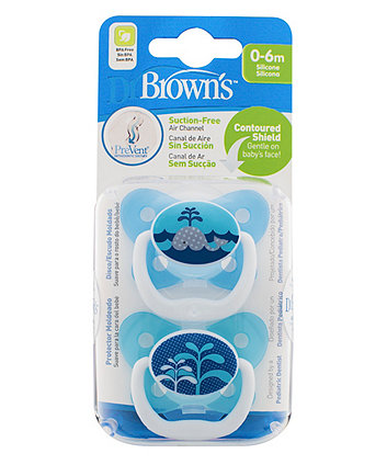 Dr Brown'S Prevent Orthodontic 0-6 Months Soother - 2 Pack (Blue)