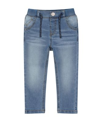 Mothercare Lead In Rib Waist Light Wash Denim Jeans
