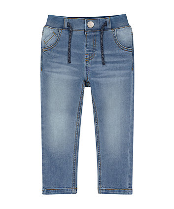 Rib Waist Light-Wash Denim Jeans
