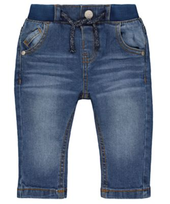 Mothercare Lead In Rib Waist Mid Wash Unlined Denim Jeans