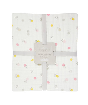 Mothercare Welcome Home Muslin Coverlet/Blanket - Pink
