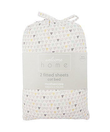 Mothercare Welcome Home Cot Bed Sheets (2 Pack) - Mint