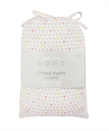 Mothercare Welcome Home Cot Bed Sheets (2 Pack) - Pink