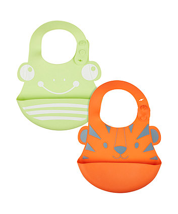 Mothercare Silicone Toddler Crumbcatcher Bibs - 2 Pack