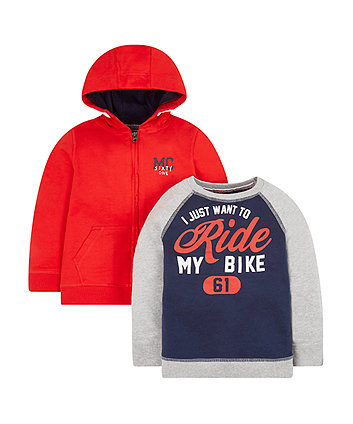Red Hoodie And Sweat Top - 2 Pack