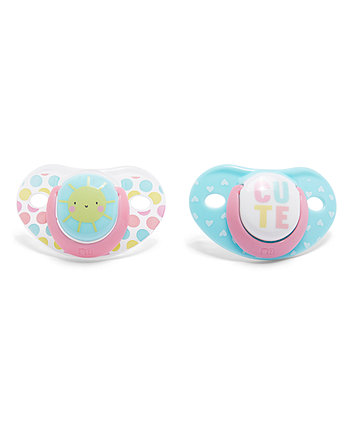 Mothercare Orthodontic Soothers - Pink 0 Months+ 2 Pack