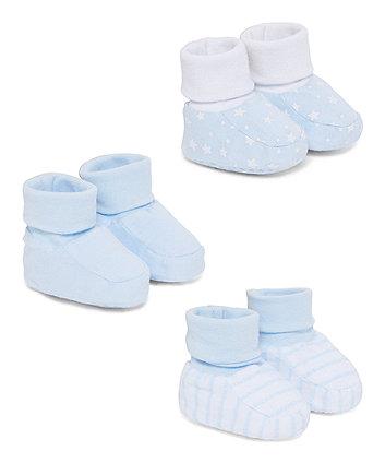 Mothercare Blue Patterned Socktops - 3 Pack
