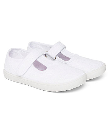 White Broderie Canvas T-Bar Shoes