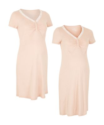 Mothercare Maternity Mocha Spot And Plain Night Dress - 2 Pack