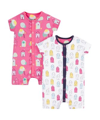 Mothercare Girls Bright House Rompers - 2 Pack