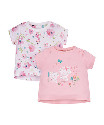 Pink Floral T-Shirts - 2 Pack
