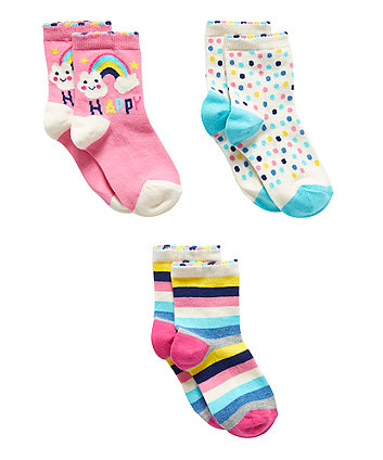 Happy Rainbow Socks - 3 Pack