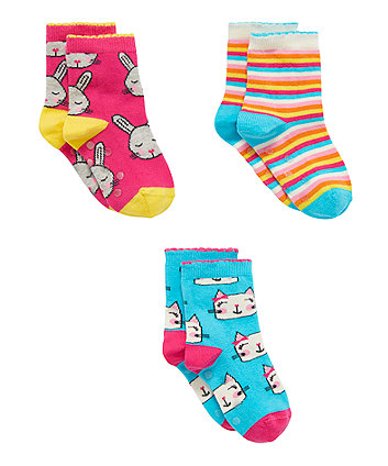Bunny And Cats Slip Resistant Socks - 3 Pack