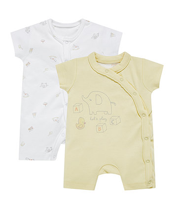 Elephant Toy Chest Rompers - 2 Pack