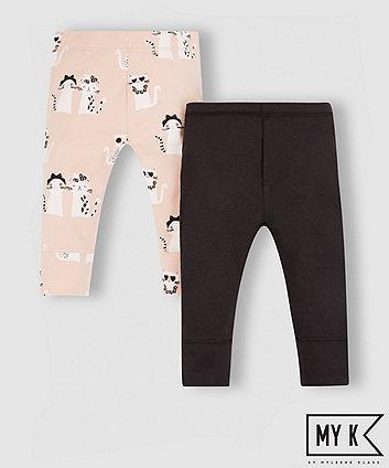 My K Pink And Black Cat Leggings
