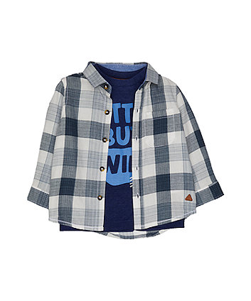 Blue Checked Shirt And T-Shirt