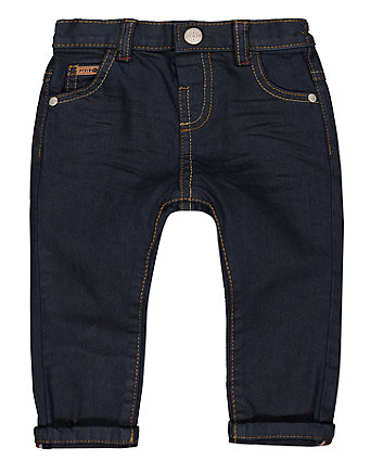 Coated Dark Wash Jeans