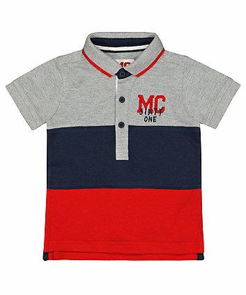 Colour Block Pique Polo Shirt