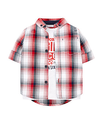 Red Check Shirt And White T-Shirt Set