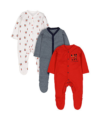 Soldier Sleepsuits - 3 Pack