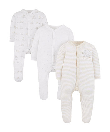 Mothercare My First Elephant Sleepsuits - 3 Pack