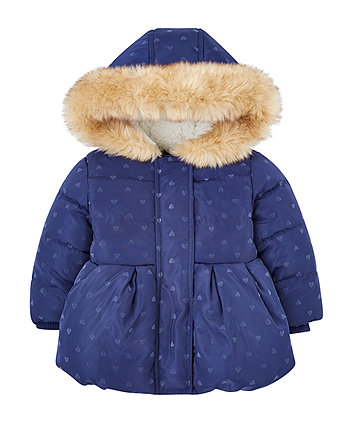 Navy Heart Padded Jacket