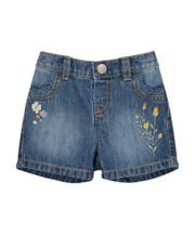 Floral Embroidered Denim Shorts And Tights Set