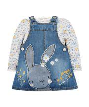 Denim Bunny Pinafore Dress And T-Shirt Set