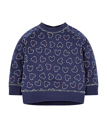 Navy Heart Sweat Top