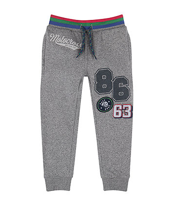 Grey Motocross Badge Joggers