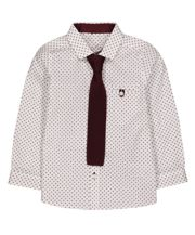 White Geometric Shirt With Tie