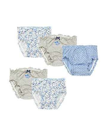 Blue Floral Briefs - 5 Pack